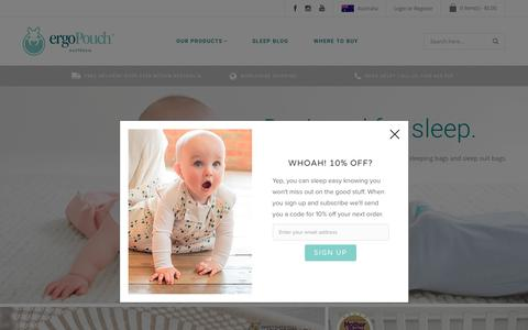 Screenshot of Home Page ergopouch.com.au - Baby Swaddles, Sleeping Bags & Sleepsuits  | ergoPouch - captured May 25, 2017