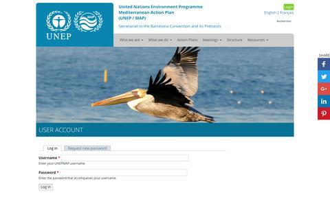 Screenshot of Login Page unep.org - User account   UNEPMAP - captured Jan. 1, 2017