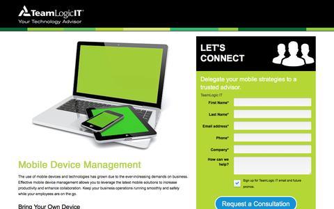 Screenshot of Landing Page teamlogicit.com - TeamLogic IT | Mobile Device Management | Mobile Device Secirity - captured Nov. 3, 2016