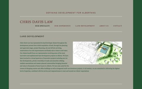 Screenshot of About Page chrisdavislaw.ca - Our specialty — Chris Davis Law - captured March 24, 2016