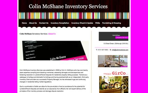Screenshot of About Page colinmcshane.com - About Us/Testimonials - Colin McShane Inventory Services - captured Oct. 1, 2014