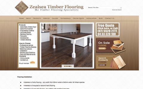Screenshot of Services Page zealseaflooring.com - Services / Timber Flooring Installation | Zealsea - captured April 22, 2016