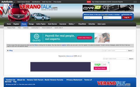 Screenshot of Blog veranotalk.com - Verano Talk Forum : Buick Verano Forums - Blog - captured March 10, 2016