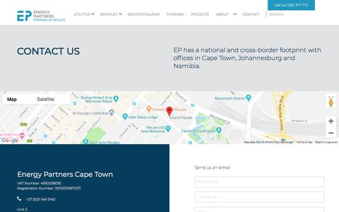 Screenshot of Contact Page energypartners.co.za - Contact Energy Partners | Energy Partners - captured Sept. 19, 2018