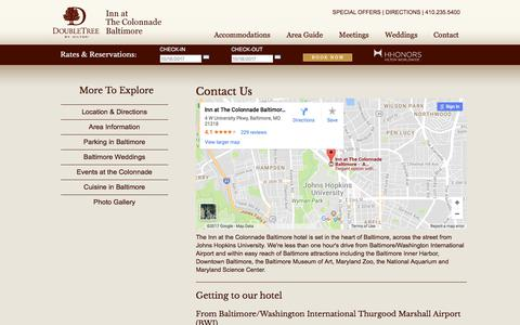 Screenshot of Contact Page Maps & Directions Page colonnadebaltimore.com - Baltimore Hotel Contact Information | Inn at The Colonnade Baltimore, A Doubletree Hotel Hotel - captured Oct. 15, 2017