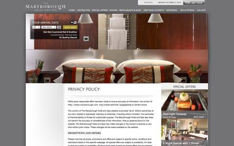 Screenshot of Privacy Page maryborough.com - 4 Star Hotel Near Cork City | Hotel & Spa | Four Star Hotel Cork | Luxury Four Star Hotel Cork City - captured Oct. 27, 2014