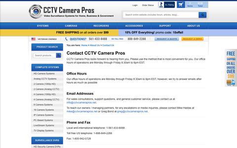 Screenshot of Contact Page cctvcamerapros.com - Contact Us - CCTV Camera Pros - captured July 14, 2018
