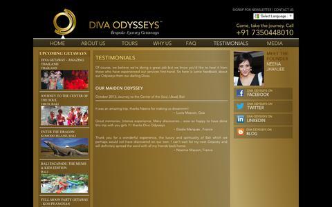 Screenshot of Testimonials Page divaodysseys.com - Diva Womens Luxury Holidays, Diva Luxury Holidays for Womens, Luxury Holidays - captured Sept. 30, 2014