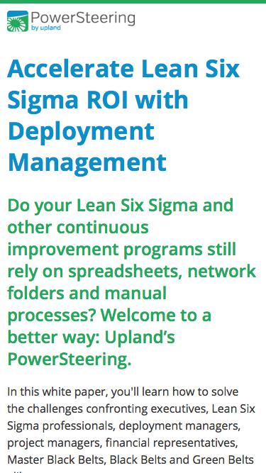 PowerSteering Software -- Accelerate Lean Six Sigma ROI