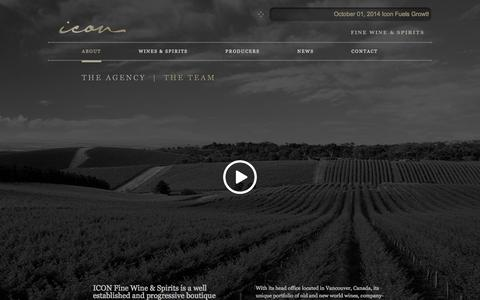 Screenshot of About Page iconwineandspirits.com - The ICON Agency - Icon Fine Wines & Spirits - captured Oct. 6, 2014