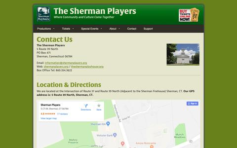 Screenshot of Contact Page Maps & Directions Page shermanplayers.org - Contact The Sherman Players - captured Nov. 23, 2018