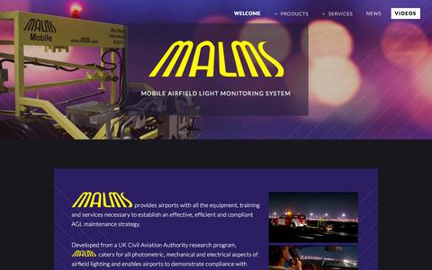Screenshot of Home Page malms.aero - MALMS - Mobile Airfield Light Monitoring System - captured Feb. 22, 2016