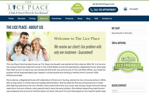 Screenshot of About Page theliceplace.com - The Lice Place - About Us - captured Sept. 7, 2019