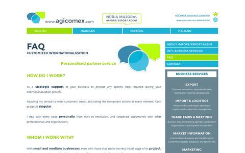 Screenshot of FAQ Page agicomex.com - AGICOMEX I Import and Export in Catalonia I FAQ - captured Oct. 4, 2014