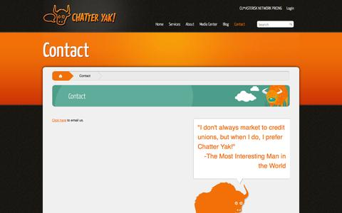 Screenshot of Contact Page chatteryak.com - Contact | ChatterYak - captured Sept. 29, 2014