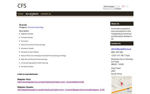 Screenshot of Products Page wozaonline.co.za - Carpet & Flooring Services cc - Our Products - Brands - captured Sept. 18, 2014