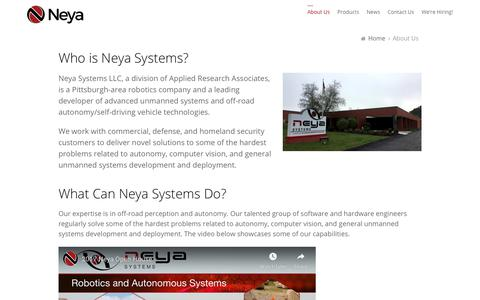 Screenshot of About Page neyasystems.com - About Us - Neya Systems LLC - captured Nov. 15, 2019