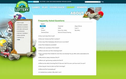 Screenshot of FAQ Page coloradolottery.com - ABOUT - FAQS :: COLORADO LOTTERY - captured Sept. 24, 2014