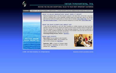 Screenshot of Home Page valueinnovations.com - v a l u ei n n o v a t i o n s, i n c. - captured Oct. 7, 2014