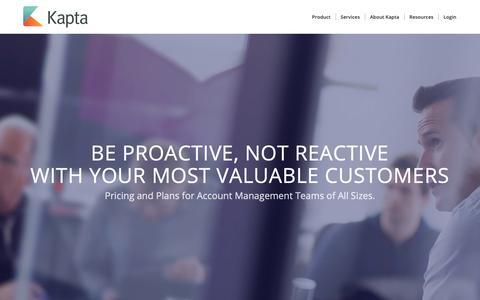 Screenshot of Pricing Page kapta.com - Pricing - Kapta Key Account Management Technology - captured Oct. 21, 2018