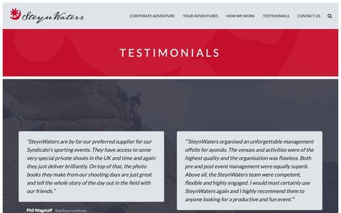 Screenshot of Testimonials Page steynwaters.com - Testimonials – Steyn Waters - captured Oct. 19, 2018