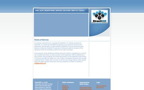 Screenshot of Terms Page directhie.com - Contact Us - captured Oct. 1, 2014