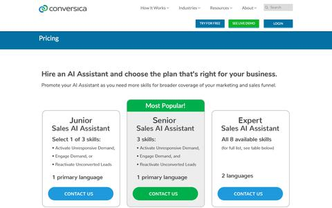 Screenshot of Pricing Page conversica.com - Pricing - captured March 19, 2019