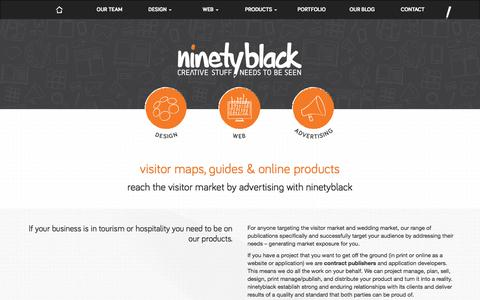 Screenshot of Products Page ninetyblack.com - Publishing Company NZ | Tourism Advertising in Visitor Guides - captured Sept. 21, 2018
