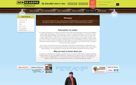 Screenshot of Privacy Page newseasonsmarket.com - New Seasons Market - Privacy - captured July 20, 2014