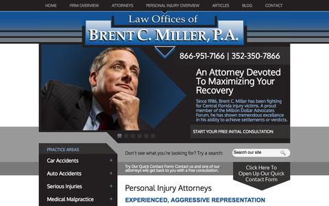 Screenshot of Home Page bcmillerlaw.com - Personal Injury Lawyers | Tavares, Clermont, The Villages, Inverness - captured Oct. 2, 2014