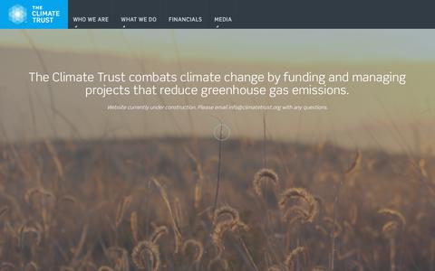 Screenshot of Home Page climatetrust.org - The Climate Trust | Invest with PurposeThe Climate Trust | Invest with Purpose - captured July 17, 2019
