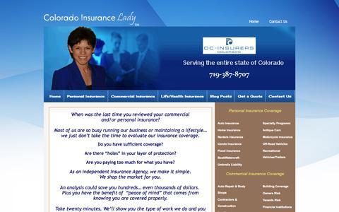 Screenshot of Home Page Site Map Page coloradoinsurancelady.com - We Insure Colorado - captured Sept. 30, 2014