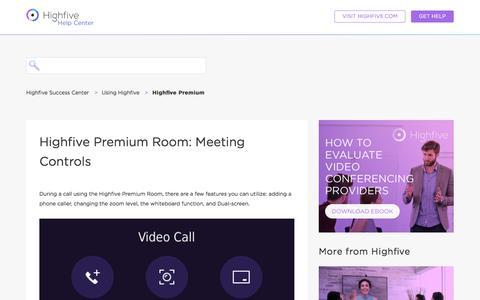 Screenshot of Support Page highfive.com - Highfive Premium Room: Meeting Controls – Highfive Success Center - captured Oct. 9, 2019