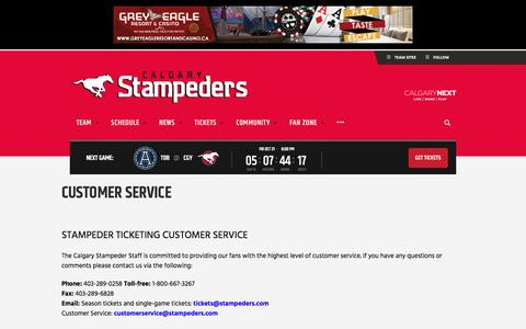 Screenshot of Support Page stampeders.com - Customer Service - Calgary Stampeders - captured Oct. 16, 2016
