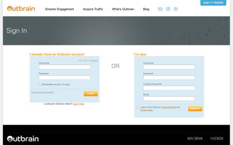Screenshot of Login Page outbrain.com - Outbrain - Sign In - captured Sept. 12, 2014