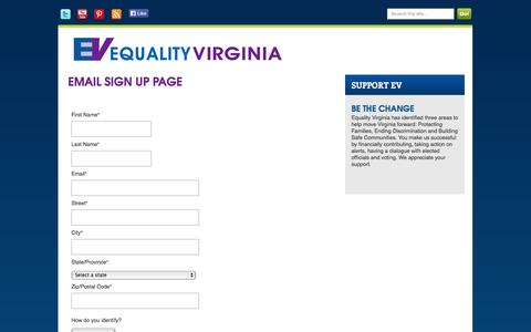 Screenshot of Signup Page salsalabs.com - Equality Virginia - captured Sept. 17, 2014