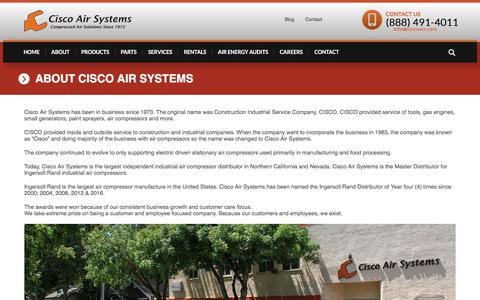 Screenshot of About Page ciscoair.com - About Cisco Air Systems - captured July 14, 2017
