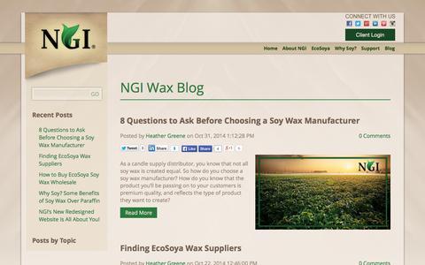 Screenshot of Blog ngielements.com - NGI Wax Blog - captured Oct. 31, 2014