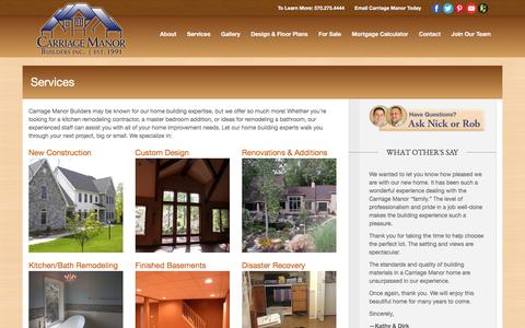 Screenshot of Services Page carriagemanor.com - Custom Homes | Remodeling & Additions | Services - captured Oct. 25, 2016