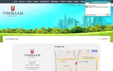 Screenshot of Contact Page vishraam.com - Builders in thrissur|Trichur|Guruvayur|Guruvayoor|Punkunnam|Thrissur|Kerala - captured Feb. 19, 2016