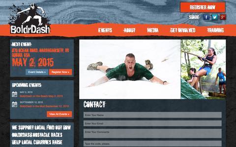 Screenshot of Contact Page boldrdashrace.com - BoldrDash - captured Oct. 5, 2014