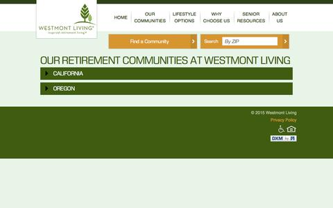 Screenshot of Locations Page westmontliving.com - Our Retirement Communities | Westmont Living - captured Aug. 15, 2015
