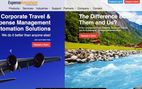 Screenshot of Home Page expenseanywhere.com - Online Expense Reporting System, Travel & Employee Expense Software - Expense anywhere - captured June 17, 2015