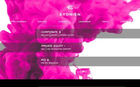 Screenshot of Services Page etonien.com - CFO Services Evolved   ETONIEN - captured Jan. 31, 2016