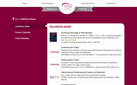 Screenshot of Press Page celonova.com - CeloNova News - CeloNova - captured Sept. 13, 2014