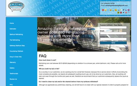 Screenshot of FAQ Page amazingrefinishing.com - Amazing Bathtub Refinishing NC - captured Oct. 3, 2018