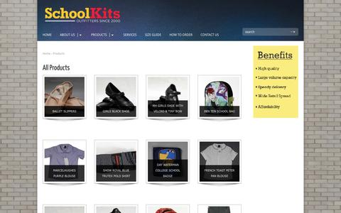 Screenshot of Products Page schoolkitsng.com - Products   School Kits - captured Oct. 4, 2014
