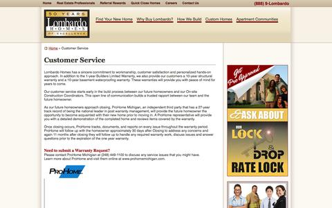 Screenshot of Support Page lombardohomes.com - New Homes in Michigan | Customer Service | Lombardo Homes - captured Sept. 30, 2014