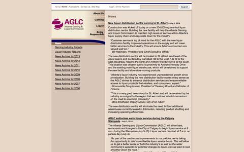 Screenshot of Press Page aglc.ca - AGLC - News - captured Sept. 19, 2014