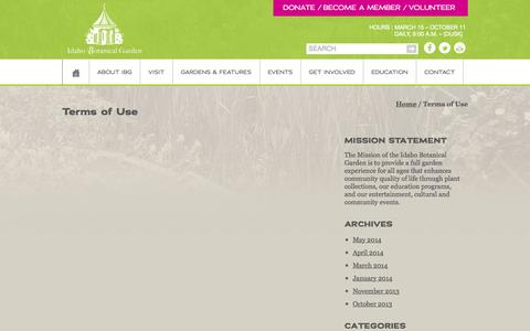Screenshot of Terms Page idahobotanicalgarden.org - Terms of Use - Idaho Botanical Garden - captured Sept. 30, 2014